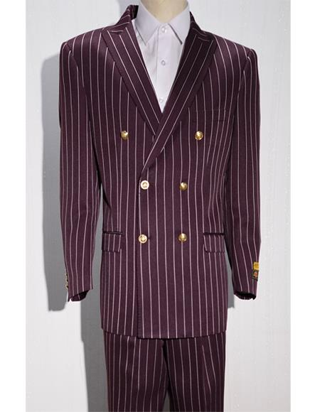 Mens Burgundy/White Pinstripe Six Button Mens Double Breasted Suits Jacket Blazer Sport Coat