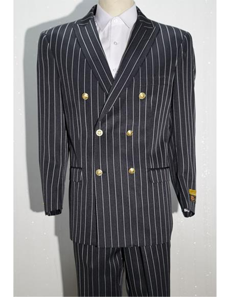 Black ~ White Men's Pinstripe Men's Double Breasted Suits Jacket Blazer