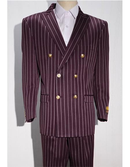 Burgundy ~ White Mens Pinstripe Mens Double Breasted Suits Jacket Blazer