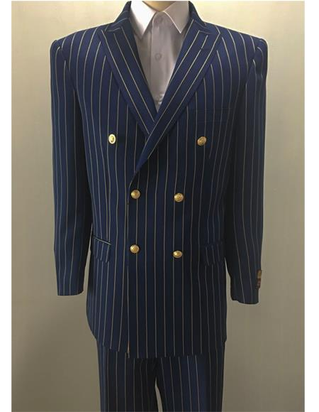 Navy ~ Gold Mens Pinstripe Mens Double Breasted Suits Jacket Blazer
