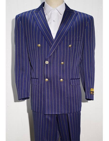 Purple ~ White Mens Pinstripe Double Breasted Blazer