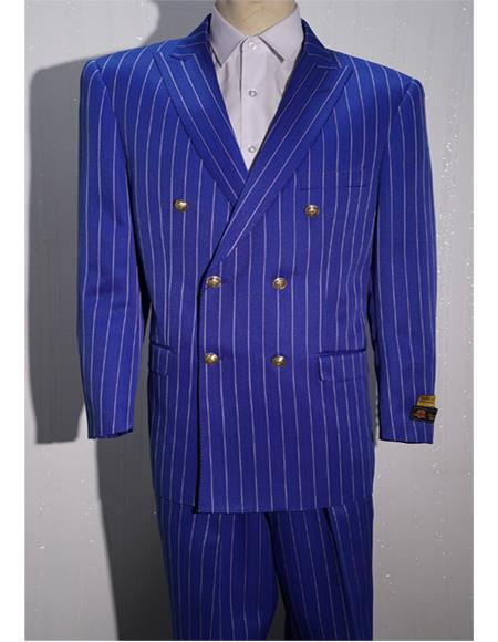 Royal ~ White Men's Pinstripe Men's Double Breasted Suits Jacket Blazer