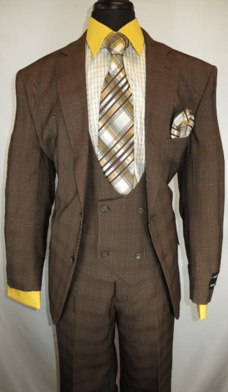 Men's Checkered Suit  Brown ~ Plaid Design Suit Jacket