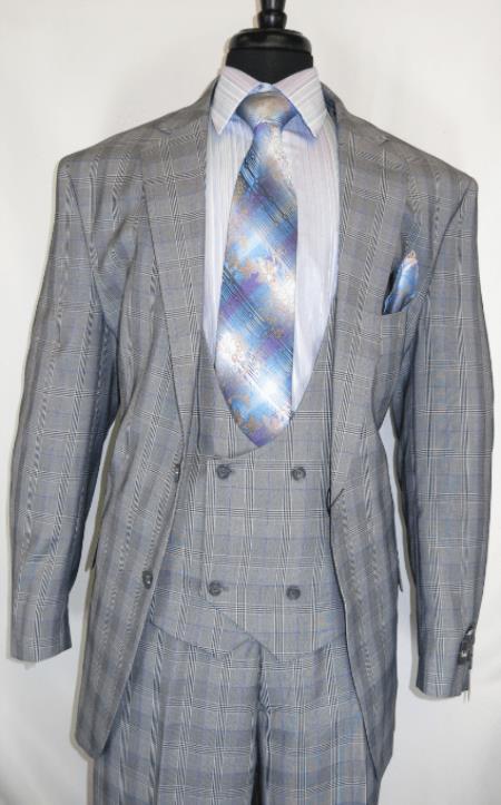 Mens Suit  Grey ~ Plaid Design Checkered Suit Jacket