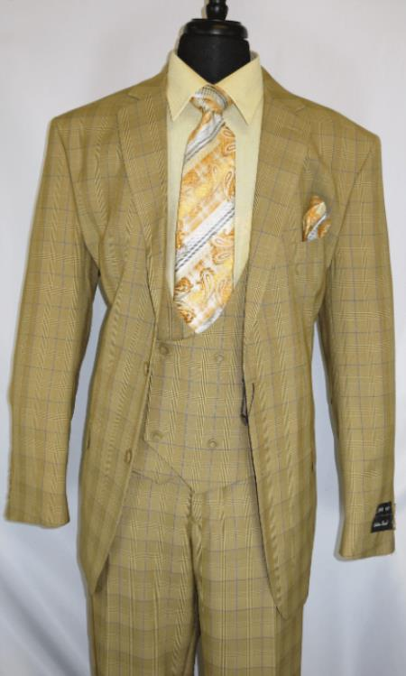 Mens Suit Single Breasted Notch Lapel Tan ~ Plaid Design Suit Jacket