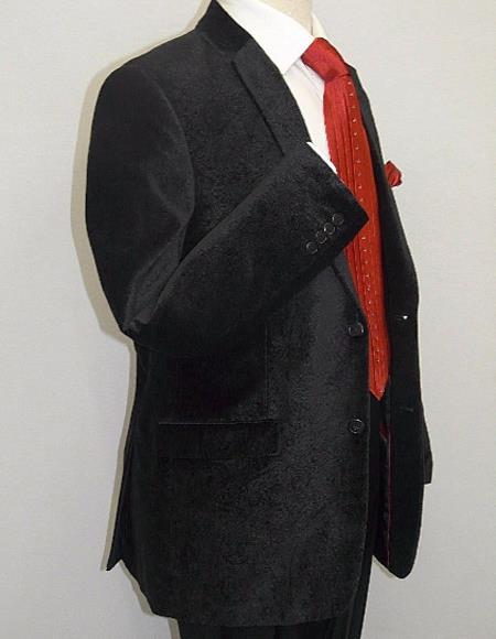 Mens Paisley Black Velvet Fabric Patterned Texture Mens blazer Sport Coat