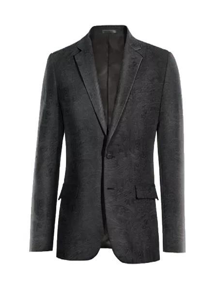 Men's Paisley Black Velvet Fabric Patterned Texture