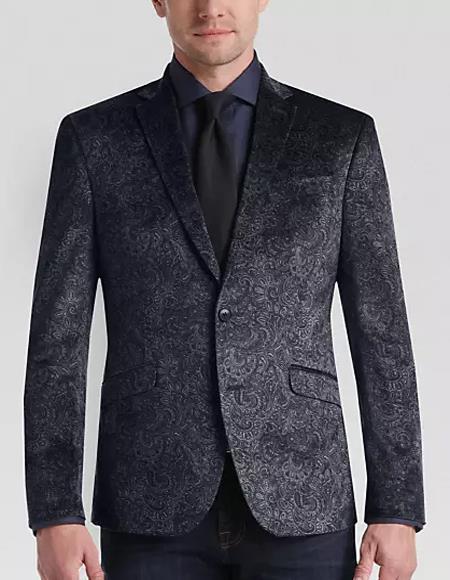 Men's Paisley Black Velvet Fabric Patterned Jacket