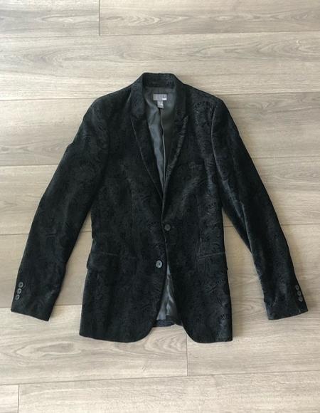 Mens Paisley Black Velvet Fabric Patterned Texture Jacket