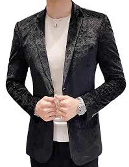 Mens Paisley Black Velvet Fabric Patterned Texture velour  Jacket