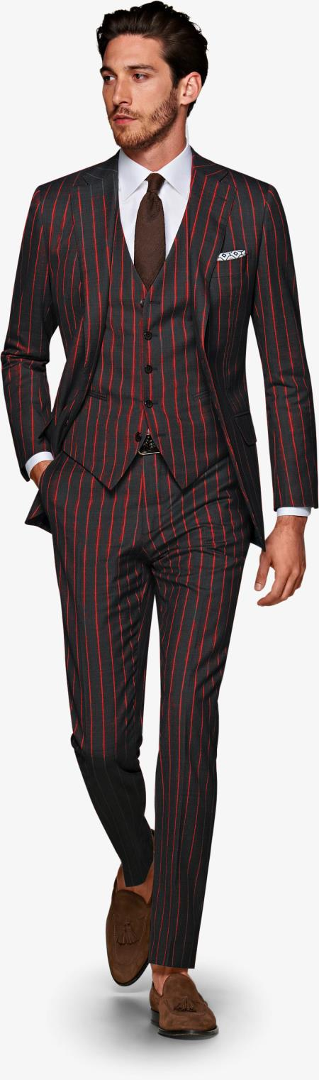 Men's Black and Red Pinstripe Gatsby Vintage Suit For Sale