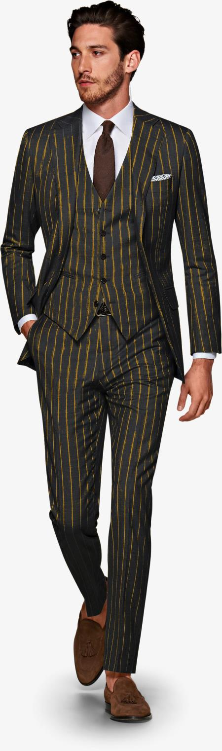 Product#ALPHA 1920s 1940s Mens Gatsby Vintage Suit For Sale Black and Gold Pinstripe Pre order Collection For August/1/2021