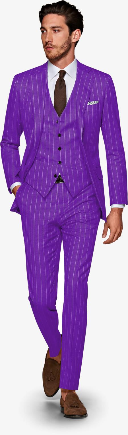 Product#ALPHA 1920s 1940s Mens Gatsby Vintage Suit For Sale Purple and White Pinstripe Pre order Collection For August/1/2021