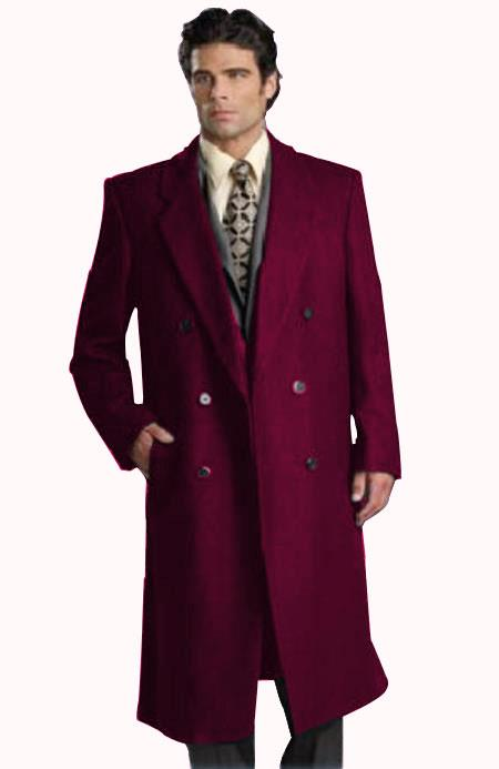 Mens Six Button Dark Burgundy Notch Lapel Fully Lined Long Coat