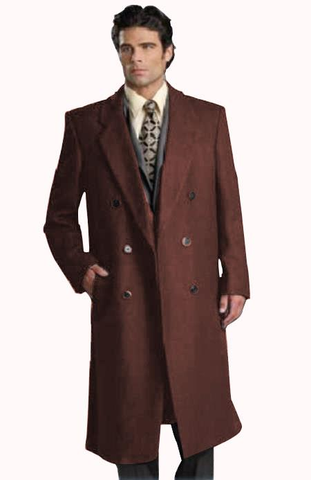 Men's Six Button Dark Brown Fully Lined Long Coat