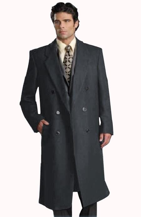 Mens Six Button Dark Grey Fully Lined Long Coat