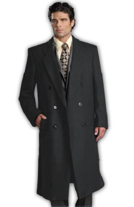 Men's Six Button Charcoal Grey Fully Lined Long Coat