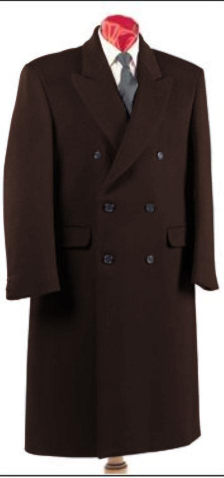 Men's Dark Brown Double Breasted Six Button Fully Lined Long Coat