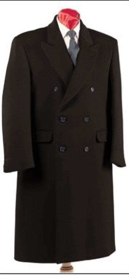 Mens Charcoal Grey Double Breasted Six Button Fully Lined Long Coat