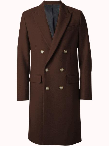 Men's Brown Wool Fabric Double breasted Overcoat  44 inch full length Topcoat
