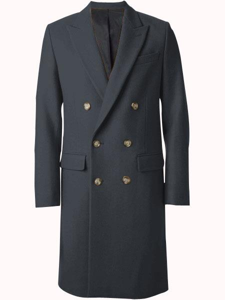 Mens Charcoal Grey - Dark Gray Wool Fabric Double breasted Overcoat  44 inch full length Topcoat