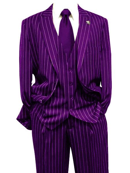 Men's Purple Gangster Bold PinStripe Mars Vested 3 Piece Fashion Suit Pleated Pant