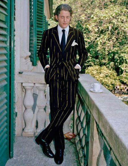 Product#ALPHA 1920s 1940s Mens Gatsby Mobster Vintage Suit For Sale Black and Gold Pinstripe