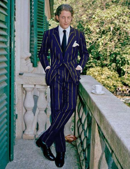Product#ALPHA 1920s 1940s Men's Gatsby Mobster Vintage Suit For Sale Navy Blue and Gold Pinstripe
