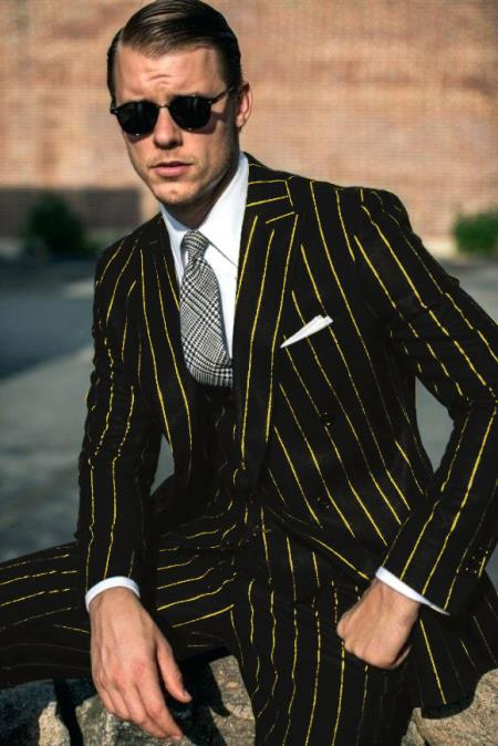 Mens Black and Gold Pinstripe Suit. Available in single breasted with double breasted vest Pre order Collection For Aguest/1/2021