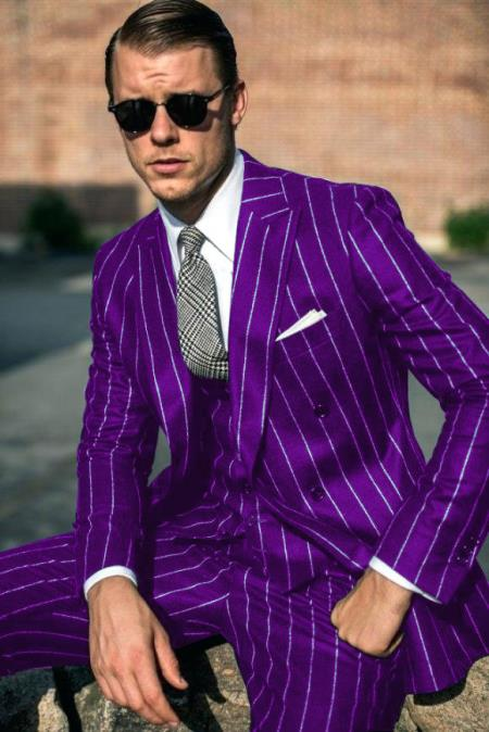 Mens Purple and White Pinstripe  Double Breasted Six Button Peak Lapel Suit