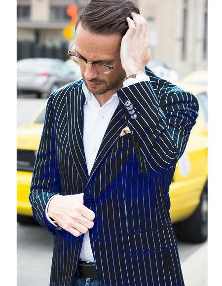 Mens Black and Bold White Stripe Two Button Casual Blazer