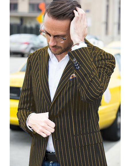 Only For Pre order for Jan/1//2021 Mens Black and Gold Pinstripe Cheap Priced Designer Blazer