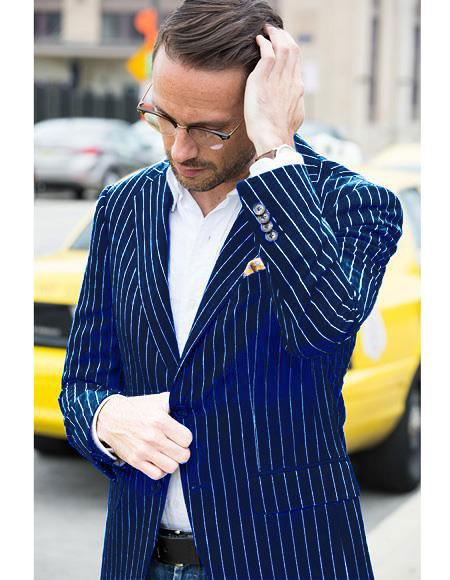 Mens Two Button Cheap Priced Designer Fashion Dress Casual Blazer On Sale Navy and Bold White Pinstripe Blazer