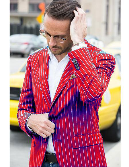 Mens Two Button Cheap Priced Designer Fashion Dress Casual Blazer On Sale Red and Bold Pinstripe Blazer