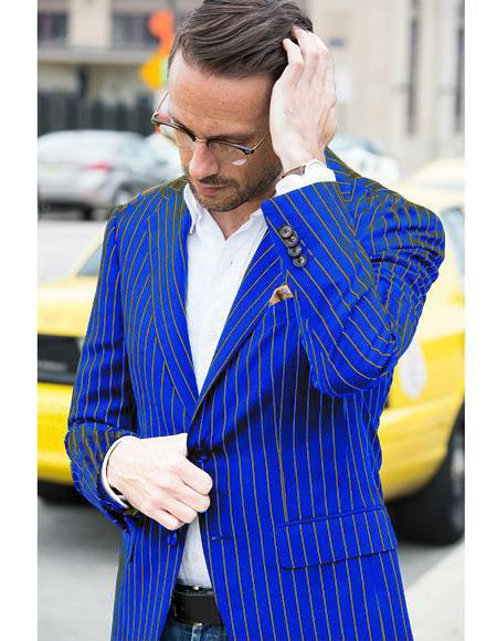 Mens Two Button Cheap Priced Designer Fashion Dress Casual Blazer On Sale Navy and Gold Pinstripe Blazer