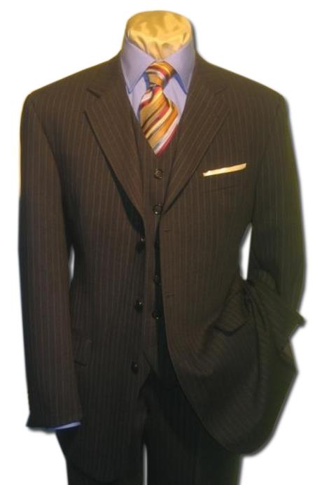 Mens 3 Piece Black Pinstripe Vested Online Sale Clearance Wool Feel Extra Fine Poly~Rayon Available in 2 buttons only $165 (Wholesale Price available)