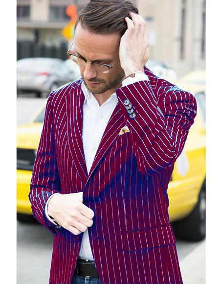 Mens Dark Burgundy and White Pinstripe Two Button Blazer
