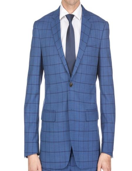 Mens Plaid Suit Mens Window Pane Slim Fitted Indigo Checkered Suit