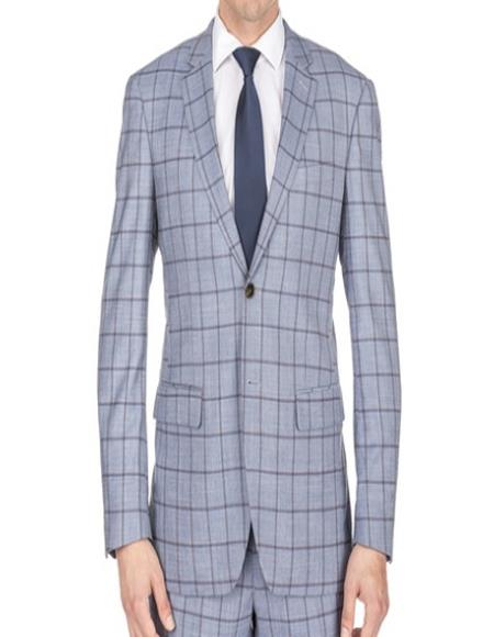 Mens  Window Pane Slim Fitted Grey Checkered Suit