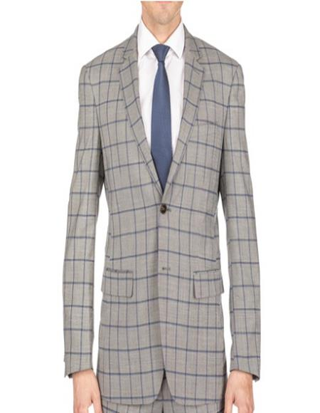 Mens Plaid Suit Mens Window Pane Slim Fitted Tan Checkered Suit