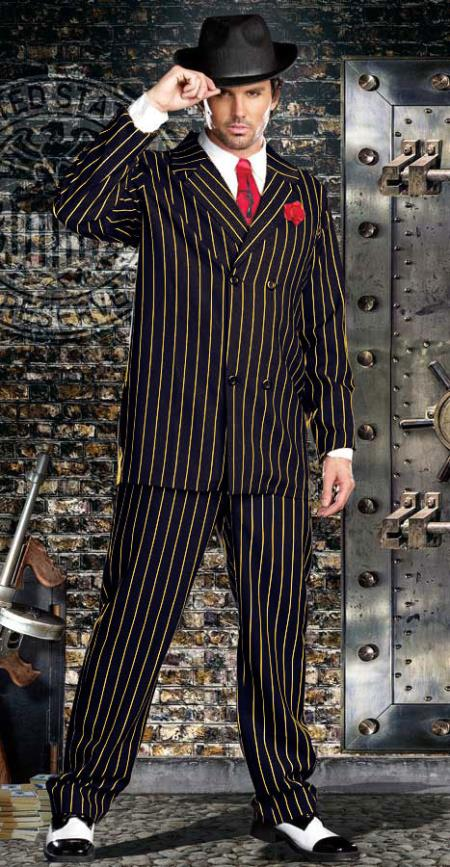 Double Breasted Bold Gangster Navy Blue with Gold Pinstripe Suit - 1920s Mens Fashion