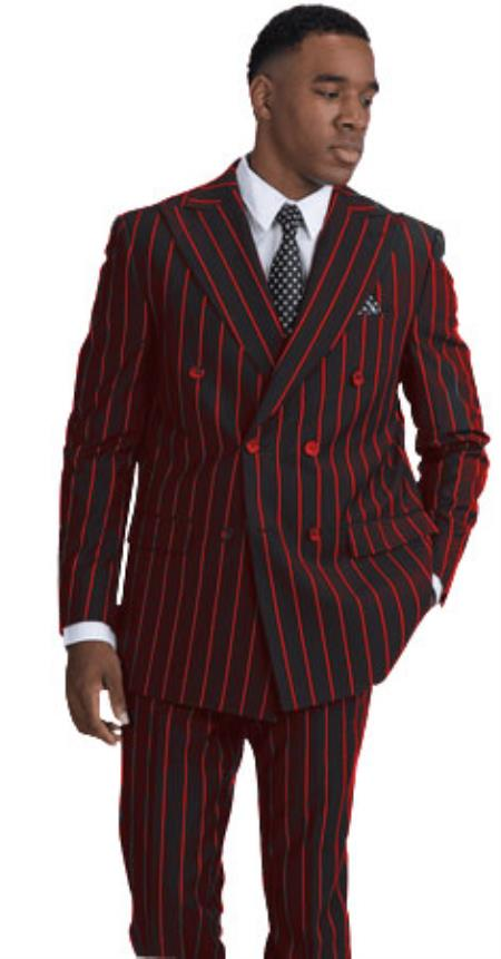 BOLD-40 Black and Red Stripe Pinstripe Gangster 1920s Mens Fashion Bold Chalk Double Breasted Suit Pre Order For September/1/2020