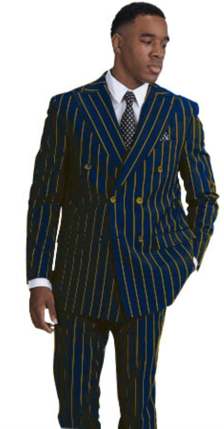 BOLD-40 Navy Blue and Gold Stripe Pinstripe Gangster 1920s Mens FashionBold Chalk Double Breasted Suit
