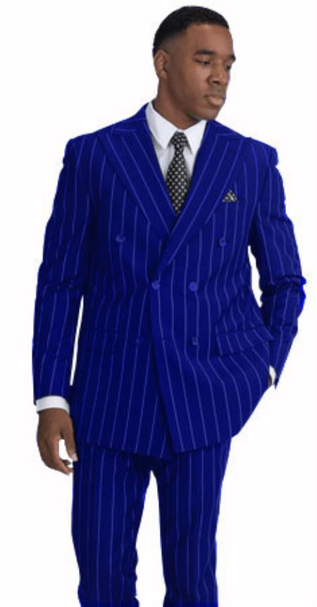BOLD-40 Royal Blue and White Stripe Pinstripe Gangster 1920s Mens Fashion Bold Chalk Double Breasted Suit