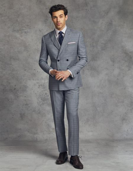 Double Breasted Suits Slim Fit Wool Suit 4 Buttons - Grey And Blue Plaid Suit - Pattern Suit By Alberto Nardoni