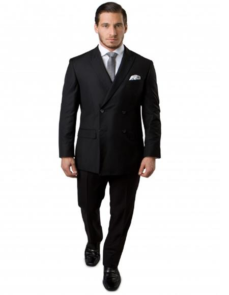Double Breasted Suits Slim Fit Wool Suit 4 Buttons Style 2020 New Formal Style