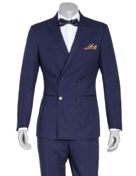 Double Breasted Slim Fit Wool Suit 4 Buttons Style 2020 New Formal Style