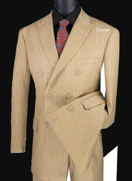 Tan ~ Beige Pinstripe Double Breasted Camel ~ khaki ~ Gold Stripe Suit Pleated Pants Side Vented