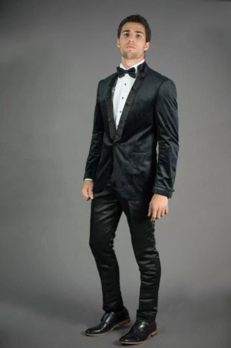 Mens Peak Lapel Slim Fit Black Velvet Jacket velour Jacket