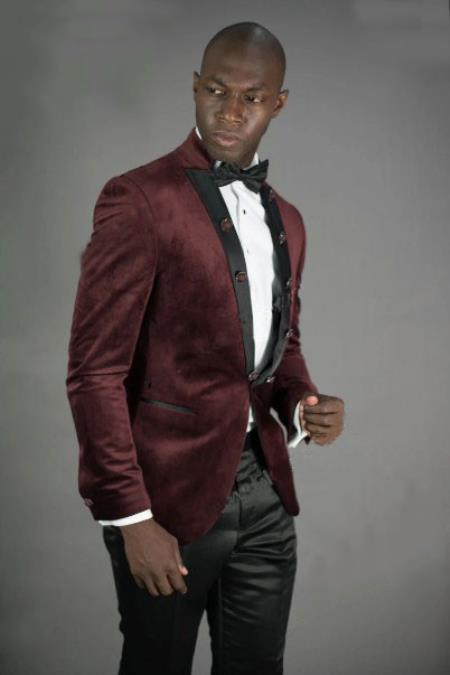 Mens Peak Lapel Slim Fit Burgundy Velvet Jacket Mens blazer